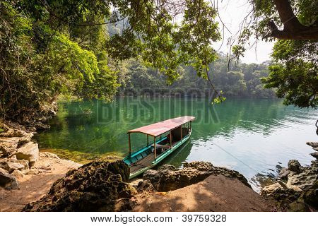 boat in Ba Be National Park,Vietnam