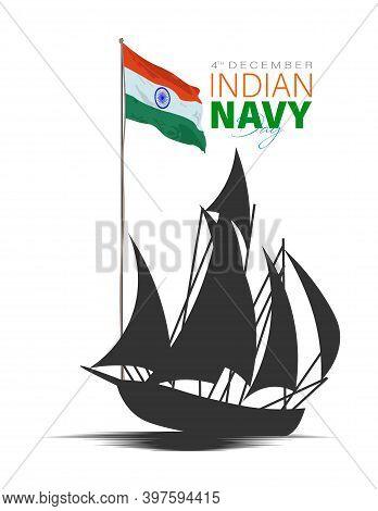 Vector Illustration Of Indian Navy Day. December 4.