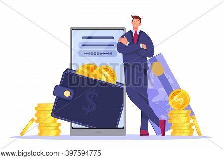 Digital Wallet, Online Payment Or Mobile Banking Illustration With Smartphone, Businessman, Card, Co