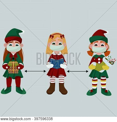 Three Cute Little Girls In Christmas Costumes And Medical Masks. Social Distance