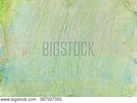 Hand Painted Abstract Watercolor Background In Green, Blue And Pink With Stripes And Lines