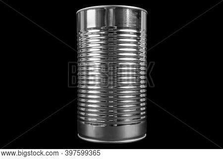 Aluminium Can Isolated On Black Background. Aluminium Can Background.  Aluminium Beverage Can Isolat