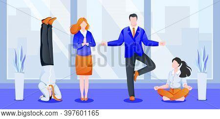 Business Team Do Yoga In Office. Women, Men Meditating In Cabinet. Vector Illustration. Concept For