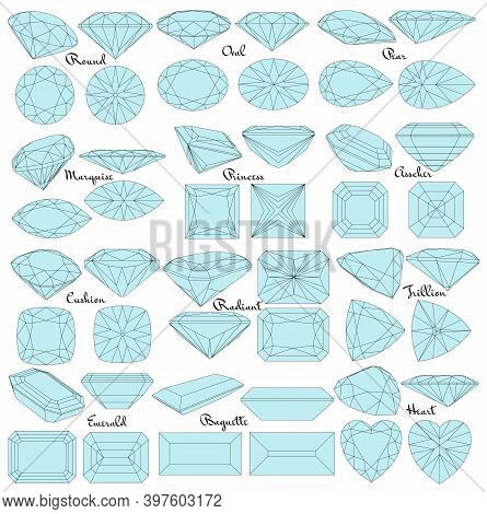 Cutting Gems Stones. Types Of Diamond Cut. Four Sides Of Jewelry With Facets For Background, Carving