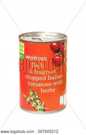 Yateley, Uk - September 22: Isolated Can Of Chopped Italian Tomatoes With Herbs - Produced By Waitro