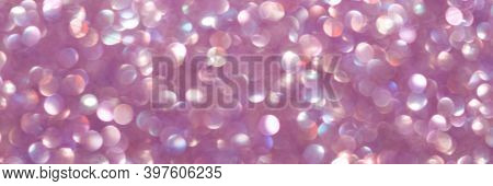 Abstract Lights Purple, Violet And White Light Bokeh Background For Xmas, Valentine, New Year, Easte