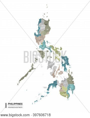 Philippines Higt Detailed Map With Subdivisions. Administrative Map Of Philippines With Districts An