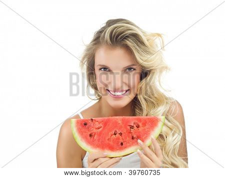 portrait of attractive  caucasian smiling woman isolated on white studio shot eating water mellon