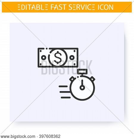Fast Money Line Icon. Quick Credit. Currency Exchange. Express Banking. Quick Services, Short Term,