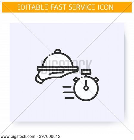 Quick Catering Line Icon. Speed Dish Serving, Waiter Service. Fast Food. Food Delivery. Express Serv
