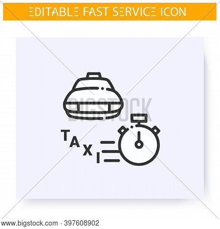 Fast Taxi Line Icon. Rapid Transport. Speed Passenger Carriage. Quick Services, Short Term, Rapid Wo