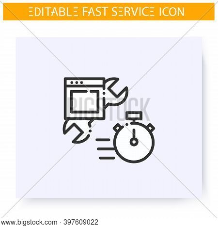 Fast Appliances Repair Line Icon. Rapid Fixing And Repair Service. Quick Services, Short Term, Rapid