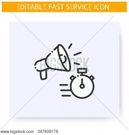 Fast Advertising Line Icon. Quick Promotion. Express Marketing Service. Quick Services, Short Term,