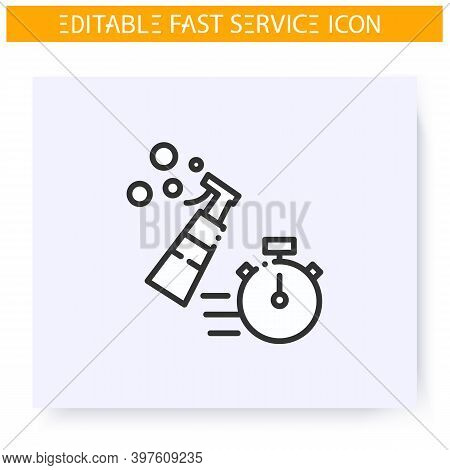Express Cleaning Line Icon. Fast Housekeeping, Disinfection Service. Quick Services, Short Term, Rap