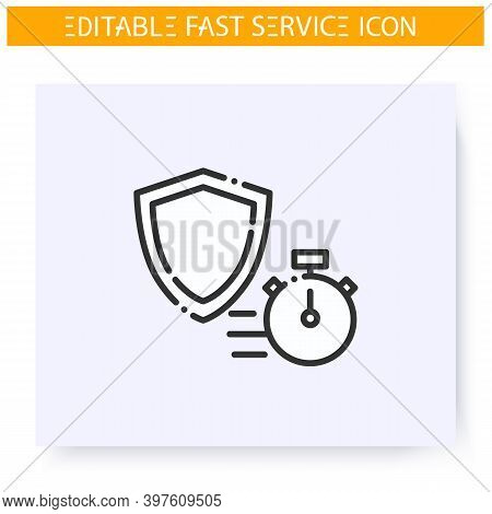 Fast Insurance Line Icon. Express Insurance Consultation. Rights And Property Protection Service. Qu