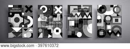 Retro Graphic Design Covers Set. Abstract Geometric Pattern Background. Monochrome Compositions For