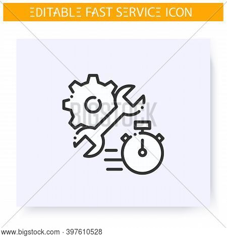 Fast Repair Line Icon. Technical Support. Rapid Fixing And Repair Service. Quick Services, Short Ter