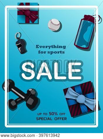 Top View Of A Wooden Table With Sports Equipment. Sale And Discount Everything For Sport. Sports Fan