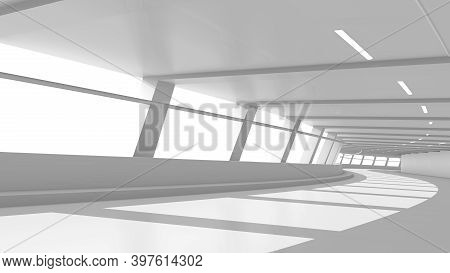 Abstract White Clean Empty  Tunnel With Curve Path And Bright Daylight From Window. Futuristic Persp