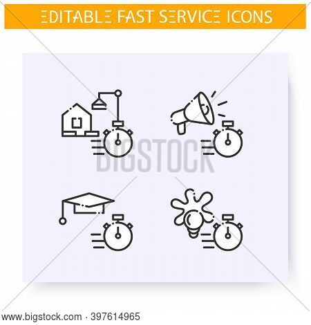 Fast Service Line Icons Set. Quick Education, Ad, Creative, Building, Production And Maintenance. Ex