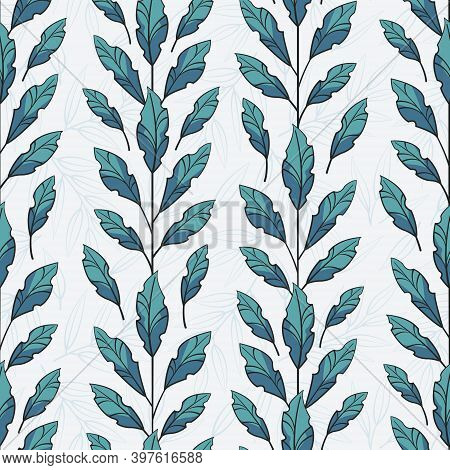 Vector Seamless Pattern With Vertical Foliate Branches With Blue Leaves; For Greeting Cards, Wrappin