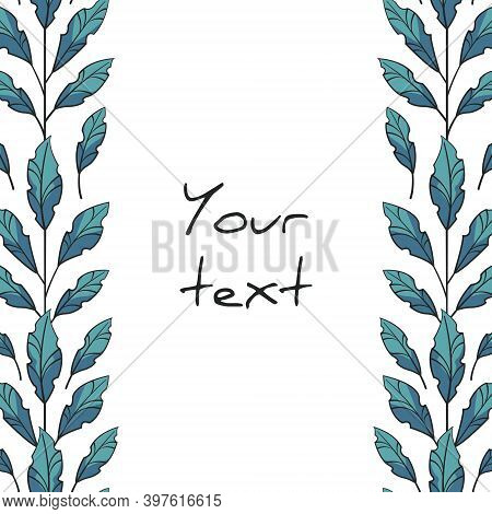 Vertical Foliate Borders With Blue Leaves For Greeting Cards, Invitations, Posters, Banners.