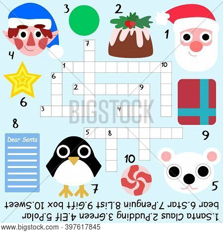 Amusing Christmas Crossword Stock Vector Illustration. Big Educational Children Word Game With Answe