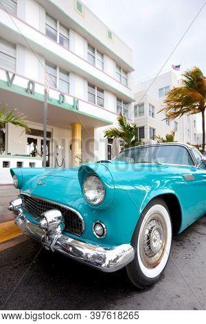 Miami Beach, Miami, Florida, United States - March 12, 2012: Classic Car At Ocean Drive In Art Deco