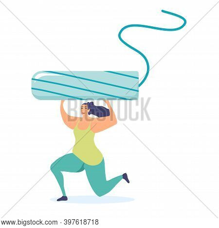 Strong Athletic Girl Holding A Big Cotton Tampon.comfort And Hygiene During Menstruation And Periods