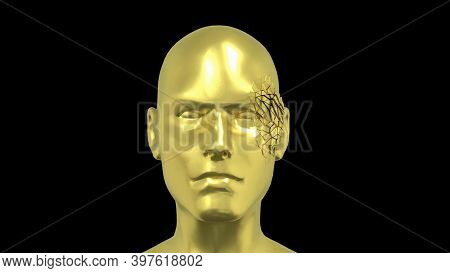 Abstract Human Head , Golden Face Or Sculpture With Realistic Environmental Light Reflections, 4k Hi