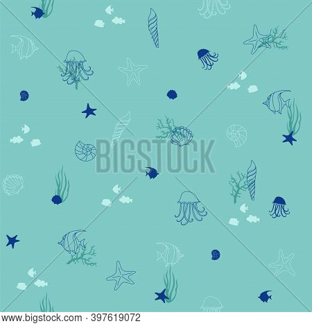 Seamless Vector Background From Hand Drawn Sea Shells And Stars. Marine Illustration Of Shellfish, T