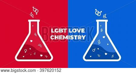 Lgbt Love Chemistry. The Flask With Heart Shapes And Gender Symbols In Liquid. Reaction Of The Same
