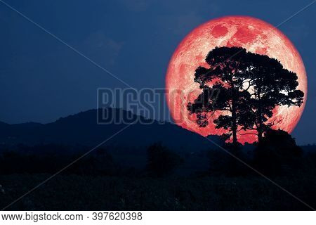 Super Harvest Red Moon Silhouette Mountain And  The Field On Night Sky