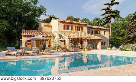 3D rendering of a Mediterranean style villa with pool and garden