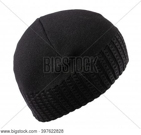 Knitted Balck Hat Isolated On A White Background.fashion Hat Accessory For Casual Style