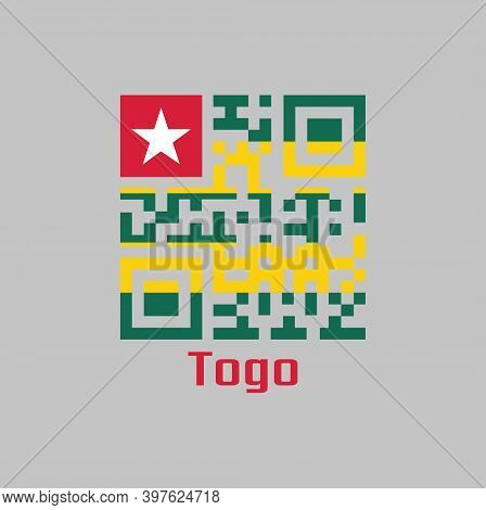 Qr Code Set The Color Of Togolese Flag. Five Equal Horizontal Bands Of Green Alternating With Yellow