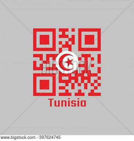 Qr Code Set The Color Of Tunisia Flag. Red And White Flag With Star And Crescent In Center With Text