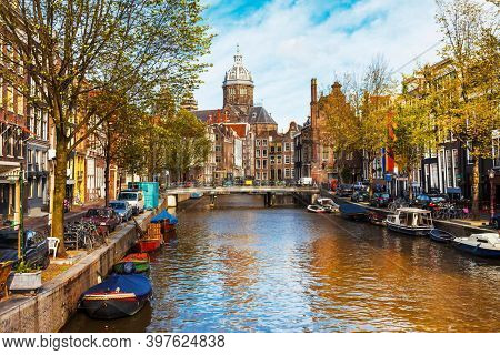 Romanti canals of beautiful Amsterdam , capital city of Netherlands