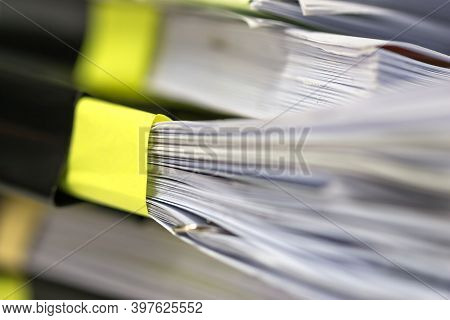 Stack Documents Or Paper Files For Paperwork Management Or Report Of Law With Clips, Pile In Desk Ov