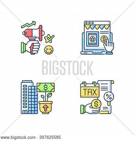 Modern Entrepreneurship Rgb Color Icons Set. Business Management And Development. Advertising, Taxat