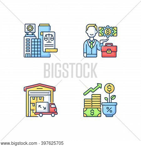 Commercial Business Rgb Color Icons Set. Trading And Financial Services. Businessman, Legal Entity,