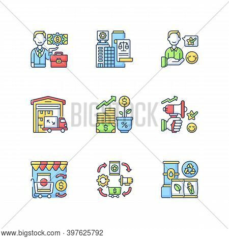 Business Rgb Color Icons Set. Successful Entrepreneurship. Legal And Customer Service. Trading Busin