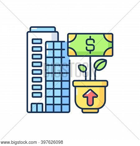 Company Growth Rgb Color Icon. Successful Business Development, Profitable Entrepreneurship. Banking