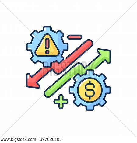 Business Risks Rgb Color Icon. Entrepreneurship Benefits And Dangers, Stock Market Trading. Company