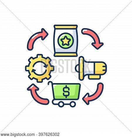 Logistics Rgb Color Icon. Entrepreneurship Organization, Effective Production, Promotion And Trading