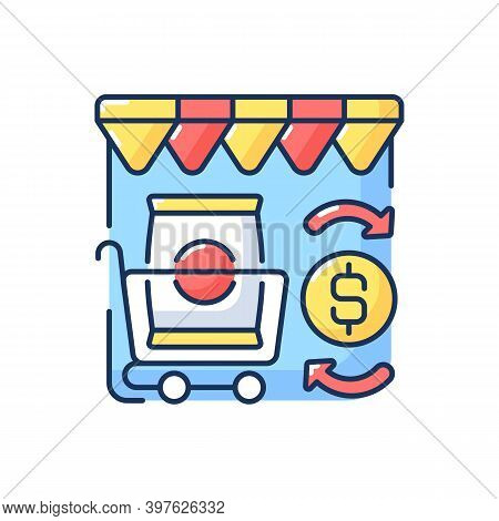 Retail Trade Rgb Color Icon. Commercial Business, Customer Service, Consumerism. Convenience Store,
