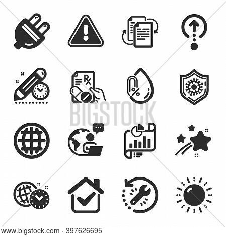 Set Of Science Icons, Such As Project Deadline, Sun Energy, Globe Symbols. Bureaucracy, No Alcohol,