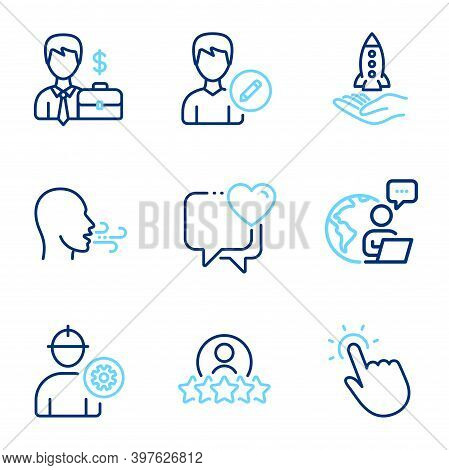 People Icons Set. Included Icon As Breathing Exercise, Crowdfunding, Businessman Case Signs. Heart,
