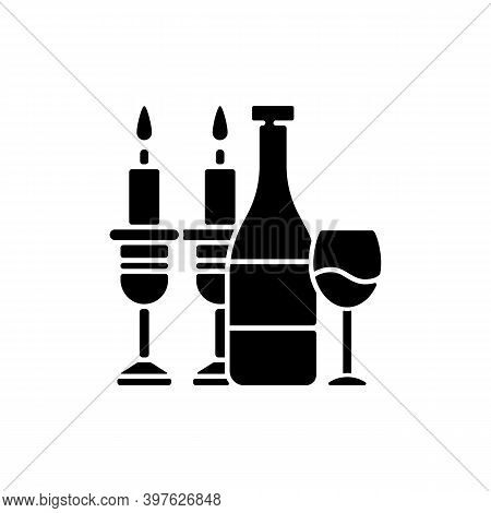 Kosher Wine Black Glyph Icon. Jewish Holidays And Rituals. Passover Seder. Festive Meal. Grape Juice