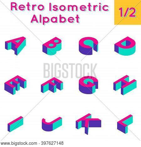Retro Isometric Three-dimensional Bright Computer Game Alphabet Set. Part 1 Of 2